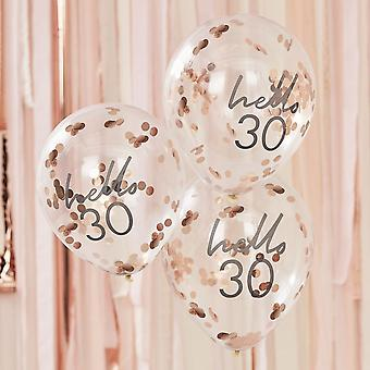 Hello 30 Rose Gold Party Balloons - 30th Birthday Balloons x 5