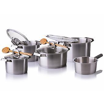 Mehrzer - Set van 5 roestvrijstalen kookpannen