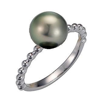 Adriana Pearl Ring Women's Ring Tahiti Black 8-9mm Silver Rhodium I37