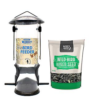 1 x Simply Direct Premium Hammertone Wild Bird Seed Feeder with 0.9KG bag of Niger Seed Feed