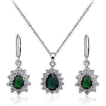 Tropfenform Grner simulierter Smaragd Zirkonia Kristalle Schmuck-Set Halskette Anhnger 45 cm
