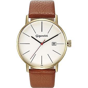 Gigandet Men's Watch Quartz Analog Minimalism Bracelet Leather Brown Gold G42-008