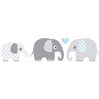 FengChun Bordre selbstklebend Elefanten GRAU/BLAU - Wandbordre Kinderzimmer/Babyzimmer mit Elefanten