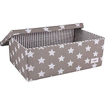 FengChun große Spielzeug/Kindergarten Aufbewahrungsbox mit Deckel grau Stern