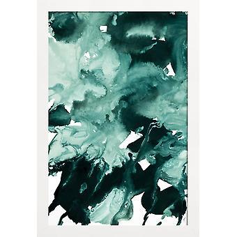 JUNIQE Print - Bläckblåsare Marmor 4 - Abstrakt & Geometrisk Affisch i Grönt & Vitt