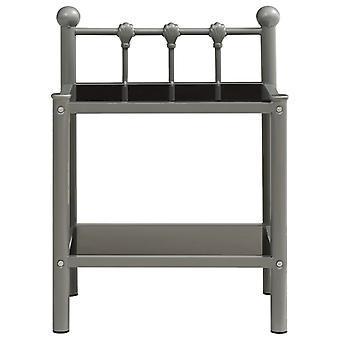 vidaXL Nachttisch Grau und Schwarz 45x34,5x60,5 cm Metall und Glas