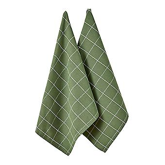 Ladelle Eco Check Set of 2 Tea Towels, Green