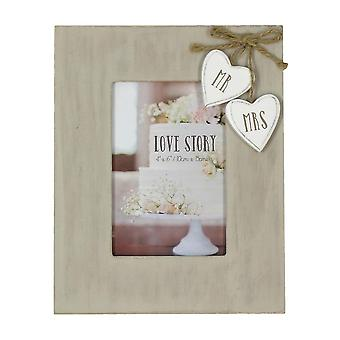 Widdop & Co. Wooden Frame With Heart Mr & Mrs 4x6