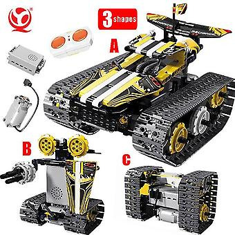 High-tech rc car tracked stunt racing 3in1 remote control robot electric building blocks moc creator stem toys for kids gifts