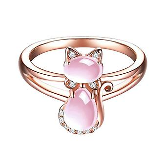Pink ring with cat motif in rhinestones and stones rose gold cat