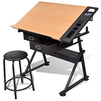 vidaXL piirustuspöytä, jossa on kallistettava pöytä 2 laatikkoa ja jakkaraa