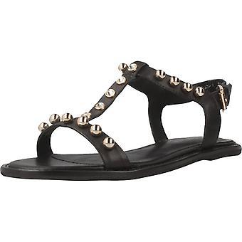 Sandales jaunes brûlant la couleur simple noire