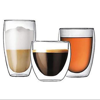 كأس زجاج الجدار المزدوج المقاوم للحرارة