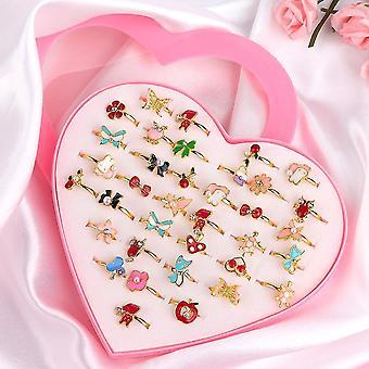 Rings 36 piece/set cute love kids rings sweet design flower animal finger rings sm161327