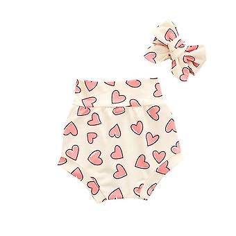 Summer Floral Heart Rainbow Print Cotton Shorts With Headband For Newborn