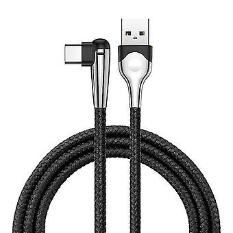 System power cables 3a type c 90 degree angle reversible fast charging data cable with led light 1m black color