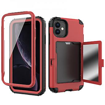 Flip Mobile Phone Case With Makeup Mirror, Suitable For Samsung Series Silicone Anti-drop Mobile Phone Case (red)
