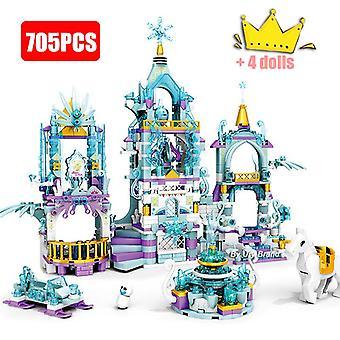 Meisjes Vrienden Princess's Ice Playground Castle House Set Films Horse Dolls Diy Bouwstenen Speelgoed voor Kid's Creatieve Geschenken