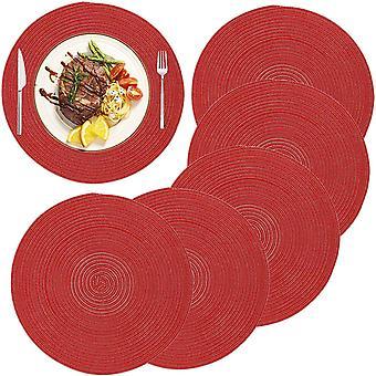 6pcs Place Matte, gewebte Tischsets Hitzebeständige geflochtene Tischmatte