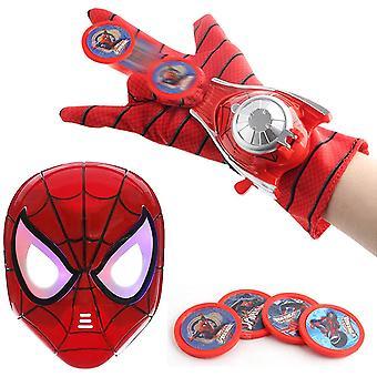 Kids Toy Spider-man Mask + Glove + Transmitter, Spider Man Led Luminous Mask Accessories Hero Fx Glove, Homecoming Superhero Dress Up Costu