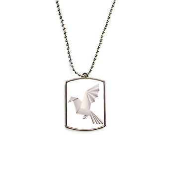 Pendentif d'étiquette d'animal de compagnie en acier inoxydable Pigeon géométrique