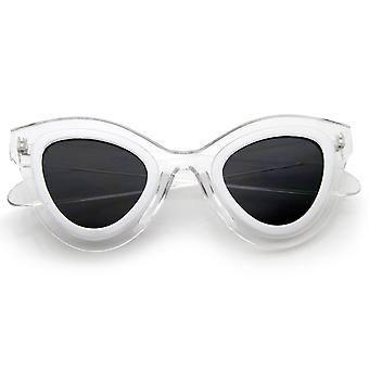 Womens High Fashion Two-Toned Chunky Oversize Cat Eye Sunglasses 42mm