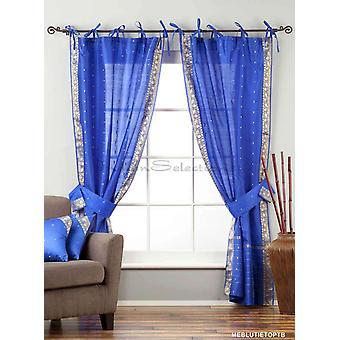 Indo blaue Krawatte Spitze schiere Sari drapieren Fassadenelement 43 x 84 in w / passende Zugband