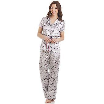 Camille gris manches courtes avec ceinture ensemble Pyjama Satin à pois
