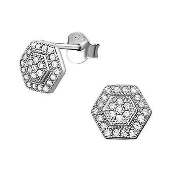 Hexagon - 925 Sterling Silver Cubic Zirconia Ear Studs - W34399X