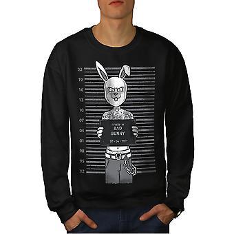 Funy Buny Men BlackSweatshirt | Wellcoda