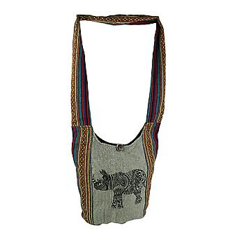 Henna Rhino Tribal Stripe Boho bomull Crossbody Bag