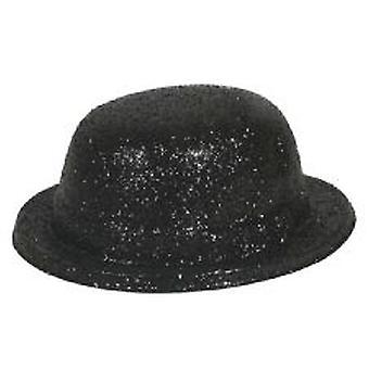 Glitter chapeau melon noir