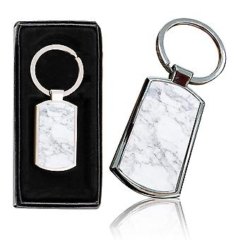 i-Tronixs - Premium Marble Design Chrome Metal Keyring with Free Gift Box (3-Pack) - 0050