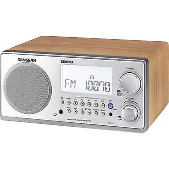 Sangean WR-2 bureau radio FM, AM AUX walnoot, zilver