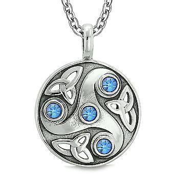 Godin Keltische Triquetra knoop bescherming Amulet cirkel Koningsblauwen kristallen hanger 18 Inch ketting
