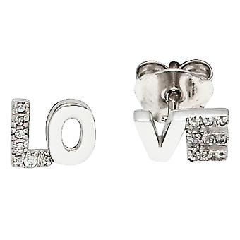 Studs LOVE rhodium-plated 925 Sterling Silver earrings with cubic zirconia