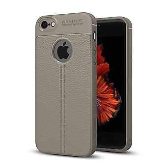 Caso de capa de pele de silicone para iPhone da Apple 5 / 5 s / SE cobrir caso moldura cinzento