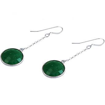 السيدات-حلق-حلق-925 الفضة-الزمرد--أخضر--3.5 سم