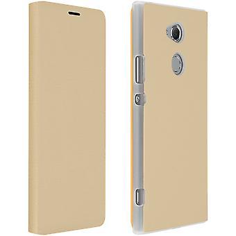 Flip cover van het boek, portemonnee geval met standaard voor Sony Xperia XA2 - goud