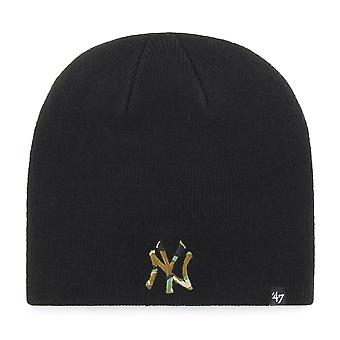 47 fire Knit Beanie - CAMOFILL New York Yankees black