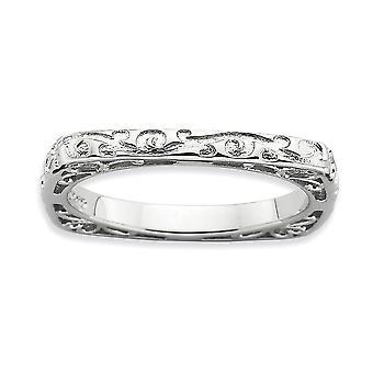 2.25mm 925 Sterling Sølv Stackable Uttrykk Polert Rhodium plate Firkantet Ring Smykker Gaver til Kvinner - Ring Størrelse: