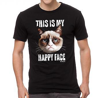 Grumpy Cat Happy Face Men's Black T-shirt
