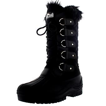 Womens Faux Fur Mountain Tactical impermeabile alti al ginocchio a piedi stivali UK 3-10