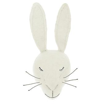 Fiona Walker England Sleepy White Rabbit Felt Animal Head, Wall Mounted
