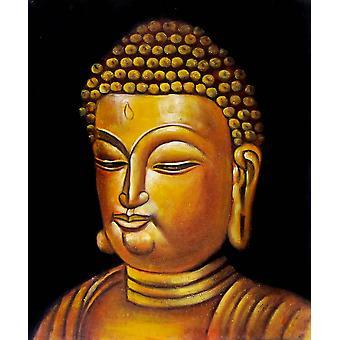 Buddha, pittura ad olio su tela, 50x60 cm