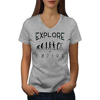 Astronomy Evolution Women GreyV-Neck T-shirt | Wellcoda