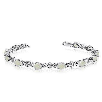 LXR 10K White Gold Oval Opal and Diamond Bracelet 2.09ct