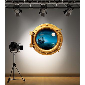 Full Colour Brass Porthole Pirate Ship Under Water Wall Sticker