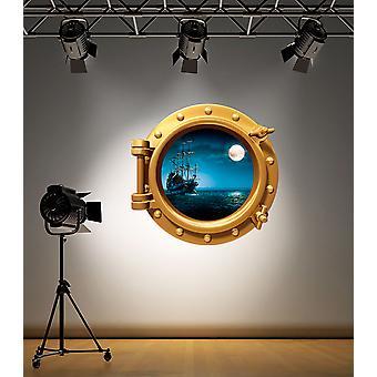 Full farge messing Porthole piratskip Under vann Wall klistremerke