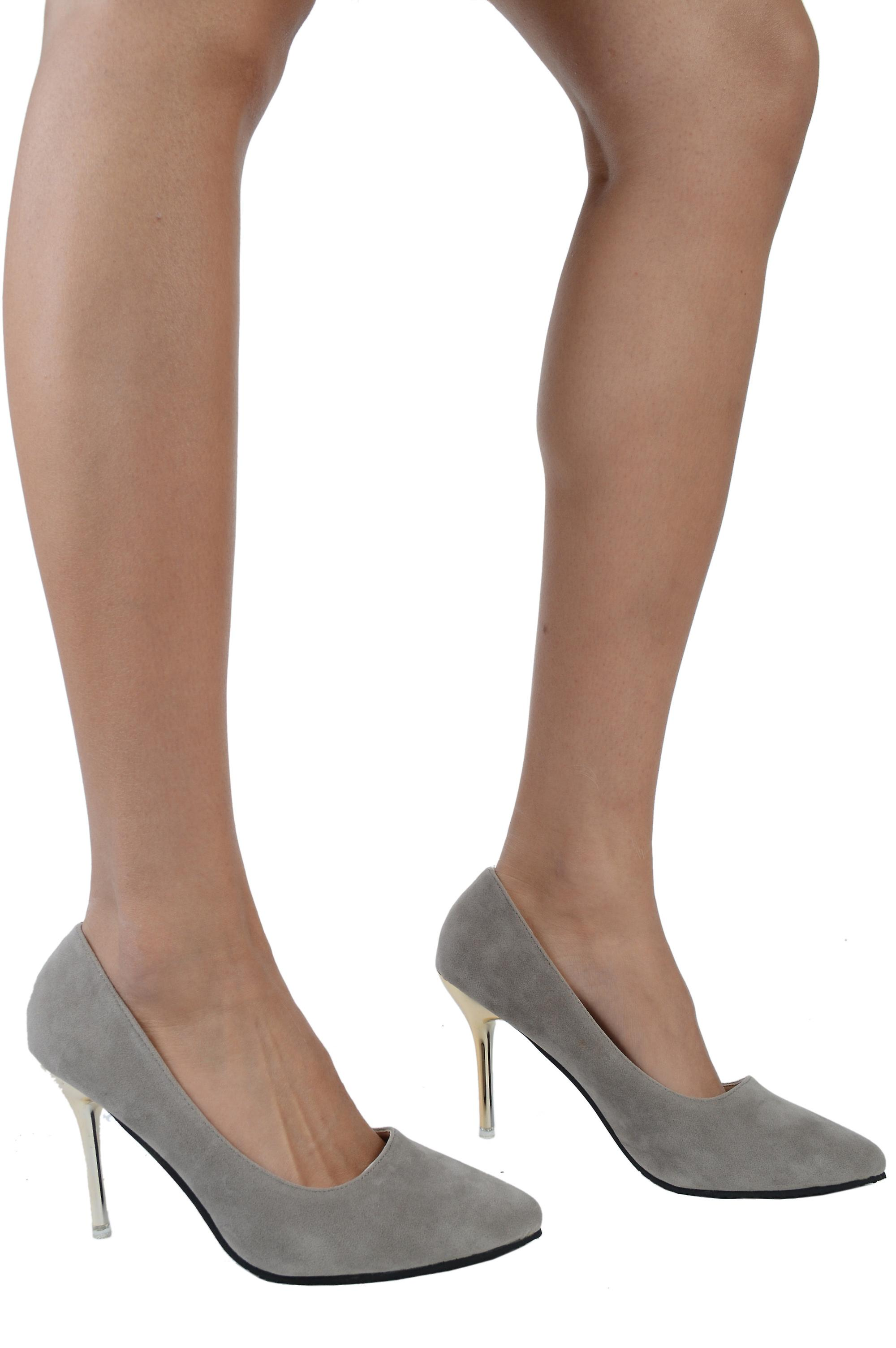 LMS Grey Suede Heels With Pointed Toe And Gold Metallic Heel